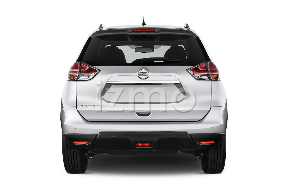 Straight rear view of a 2014 Nissan X-TRAIL Tenka 5 Door SUV 2WD Rear View  stock images
