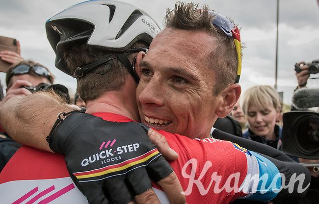 race winner Philippe Gilbert (BEL/Quick Step floors) congratulated by teammate Bob Jungels (LUX/QuickStep Floors) after the finish<br /> <br /> 52nd Amstel Gold Race (1.UWT)<br /> 1 Day Race: Maastricht &rsaquo; Berg en Terblijt (264km)