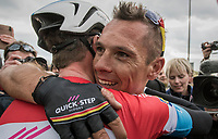 race winner Philippe Gilbert (BEL/Quick Step floors) congratulated by teammate Bob Jungels (LUX/QuickStep Floors) after the finish<br /> <br /> 52nd Amstel Gold Race (1.UWT)<br /> 1 Day Race: Maastricht › Berg en Terblijt (264km)