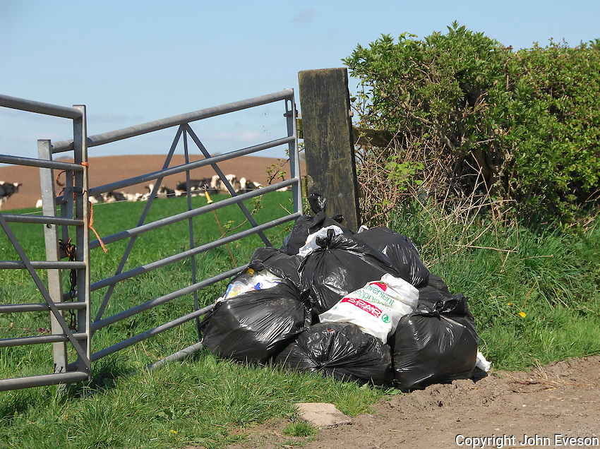 Rubbish dumped in field gate Hanmer, Whitchurch, Shropshire.