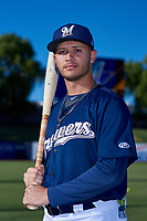AZL Brewers Blue Danny Casals (10) poses for a photo before an Arizona League game against the AZL Athletics Gold on July 2, 2019 at American Family Fields of Phoenix in Phoenix, Arizona. AZL Athletics Gold defeated the AZL Brewers Blue 11-8. (Zachary Lucy/Four Seam Images)