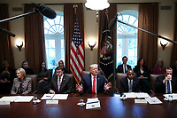 United States President Donald J. Trump speaks during a Cabinet Meeting in the Cabinet Room of the White House on November 19, 2019 in Washington, DC.  From left to right: US Secretary of Education Betsy DeVos, US Secretary of Veterans Affairs (VA) Robert Wilkie, The President, US Secretary of Housing and Urban Development (HUD) Ben Carson, US Secretary of Health and Human Services (HHS) Alex Azar.<br /> Credit: Oliver Contreras / Pool via CNP/AdMedia