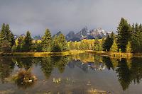 Teton Range and pond at Sunrise, Schwabacher Landing, Grand Teton NP,Wyoming, September 2005