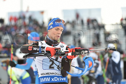 03.03.2016. Holmenkollen, Oslo, Norway.  Male biathlete Simon Schempp of Germany in action during the mixed relay Competition at the Biathlon World Championships, in the Holmenkollen Ski Arena, Oslo, Norway, 03 March 2016.