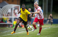 Rinsola Babajide of Watford Ladies and Leah Dunnage of Stevenage Ladies during the pre season friendly match between Stevenage Ladies FC and Watford Ladies at The County Ground, Letchworth Garden City, England on 16 July 2017. Photo by Andy Rowland / PRiME Media Images.