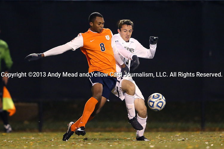 12 November 2013: Virginia's Jordan Allen (8) and Wake Forest's Michael Gamble (13). The Wake Forest University Demon Deacons hosted the University of Virginia Cavaliers at Spry Stadium in Winston-Salem, North Carolina in a 2013 NCAA Division I Men's Soccer match and the quarterfinals of the Atlantic Coast Conference tournament. Virginia won the game 1-0 in overtime.