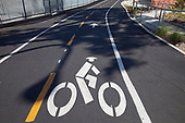 Ballona Creek bike path, Culver City, Los Angeles, California, USA