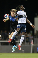 SAN JOSE, CA - AUGUST 24: Florian Jungwirth #23 of the San Jose Earthquakes goes up for a header with Tosaint Ricketts #87 of the Vancouver Whitecaps FC during a Major League Soccer (MLS) match between the San Jose Earthquakes and the Vancouver Whitecaps FC  on August 24, 2019 at Avaya Stadium in San Jose, California.