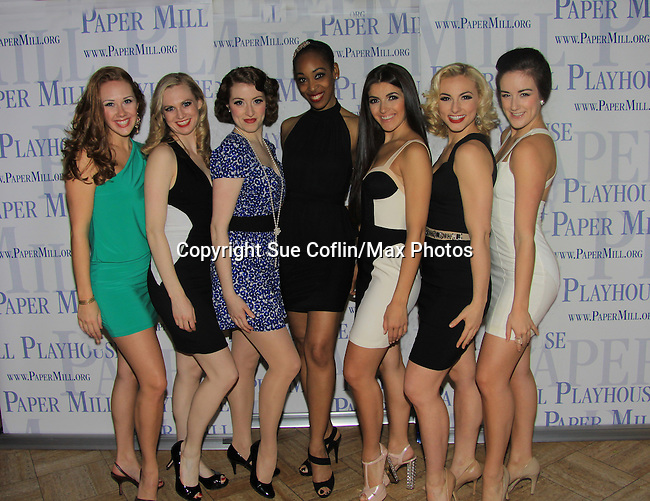"Kelly Skidmore, Lizzy Palmer, Darien Crago, Kristyn Pope, Carleigh Bettiol, Sarah Meahl, Amy Van Norstrand star in ""Thoroughly Modern Millie"" at the Paper Mill Playhouse, Millburn, NJ with opening night being on April 14, 2013. Opening Night at after party at Martinis Bistro and Bar.   (Photo by Sue Coflin/Max Photos)"