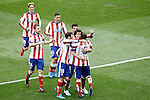 Atletico de Madrid's Fernando Torres, Gabi Fernandez, Jose Maria Gimenez, Jesus Gamez, Raul Jimenez, Tiago Mendes and Koke Resurrecccion celebrate goal during La Liga match.March 21,2015. (ALTERPHOTOS/Acero)
