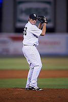 Tampa Yankees relief pitcher Caleb Frare (58) gets ready to deliver a pitch during a game against the Lakeland Flying Tigers on April 8, 2016 at George M. Steinbrenner Field in Tampa, Florida.  Tampa defeated Lakeland 7-1.  (Mike Janes/Four Seam Images)