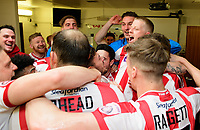 Lincoln City's Terry Hawkridge, centre, celebrates in the changing room with team-mates after the game<br /> <br /> Photographer Chris Vaughan/CameraSport<br /> <br /> Vanarama National League - Lincoln City v Macclesfield Town - Saturday 22nd April 2017 - Sincil Bank - Lincoln<br /> <br /> World Copyright &copy; 2017 CameraSport. All rights reserved. 43 Linden Ave. Countesthorpe. Leicester. England. LE8 5PG - Tel: +44 (0) 116 277 4147 - admin@camerasport.com - www.camerasport.com