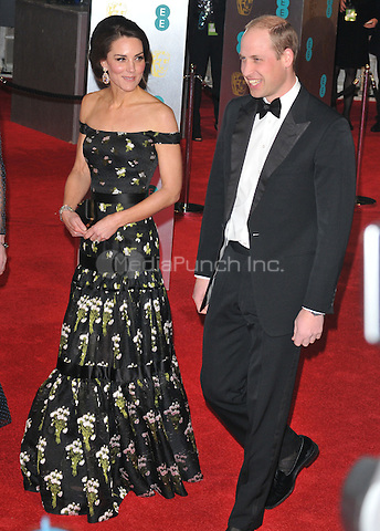 HRHs Kate, Duchess of Cambridge &amp; William, Duke of Cambridge at the EE British Academy Film Awards (BAFTAs) 2017, Royal Albert Hall, Kensington Gore, London, England, UK, on Sunday 12 February 2017.<br /> CAP/CAN<br /> &copy;CAN/Capital Pictures /MediaPunch ***NORTH AND SOUTH AMERICAS ONLY***