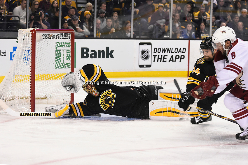 February 28, 2015 - Boston, Massachusetts, U.S. - Boston Bruins goalie Tuukka Rask (40) makes a stick save during the NHL match between the Arizona Coyotes and the Boston Bruins held at TD Garden in Boston Massachusetts. The Bruins defeated the Coyotes 4-1 in regulation time. Eric Canha/CSM