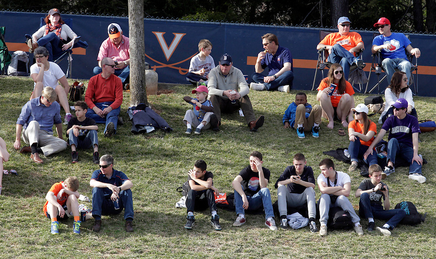 Virginia fans watch the game during the game against James Madison University Tuesday in Charlottesville, VA.  Photo/The Daily Progress/Andrew Shurtleff