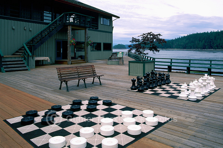 Quadra Island, Northern Gulf Islands, BC, British Columbia, Canada - Outdoor Checkers Board and Chess Board Games