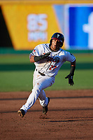 Lansing Lugnuts Gabriel Moreno (23) running the bases during a Midwest League game against the Burlington Bees on July 18, 2019 at Cooley Law School Stadium in Lansing, Michigan.  Lansing defeated Burlington 5-4.  (Mike Janes/Four Seam Images)