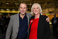 Pictured: Labour's candidate Ruth Jones and her husband Dai Jones after winning the Newport West by-election ballot count at the Geraint Thomas National Velodrome of Wales in Newport, South Wales, UK. Friday 05 April 2019<br /> Re: Voters in Newport West are going to the polls to elect a new member of Parliament.<br /> The seat in south east Wales became vacant following the death of Paul Flynn earlier in February.