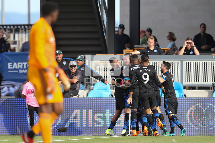San Jose, CA - Saturday March 31, 2018: Yeferson Quintana  celebrates scoring with teammates  during a Major League Soccer (MLS) match between the San Jose Earthquakes and New York City FC at Avaya Stadium.