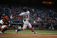 SAN FRANCISCO, CA - MAY 21:  Ronald Acuna Jr. #13 of the Atlanta Braves bats against the San Francisco Giants during the game at Oracle Park on Tuesday, May 21, 2019 in San Francisco, California. (Photo by Brad Mangin)