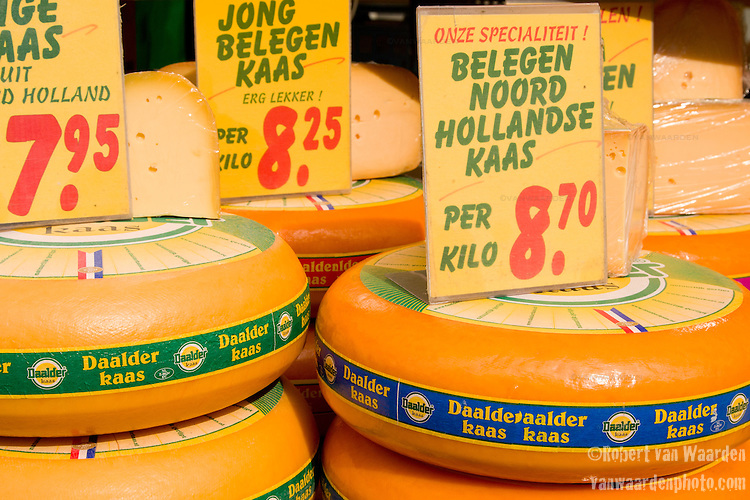Cheese for sale on the Albert Cuyp Market in Amsterdam