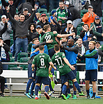 The St. Louis FC soccer team hosted the Colorado Springs Switchbacks in their home opener on Saturday March 31 at Toyota Stadium in Fenton. St. Louis won, 1-0.  Here, St Louis FC forward Kyle Greig (22) is congratulated by teammates after scoring the goal early in the game. He was assisted by midfielder Lewis Hilton (8).<br />Photo by Tim Vizer