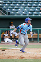 Tennessee Smokies outfielder Billy McKinney (4) at bat during a game against the Jacksonville Suns at Bragan Field on the Baseball Grounds of Jacksonville on June 13, 2015 in Jacksonville, Florida.  Tennessee defeated Jacksonville 12-3. (Robert Gurganus/Four Seam Images)