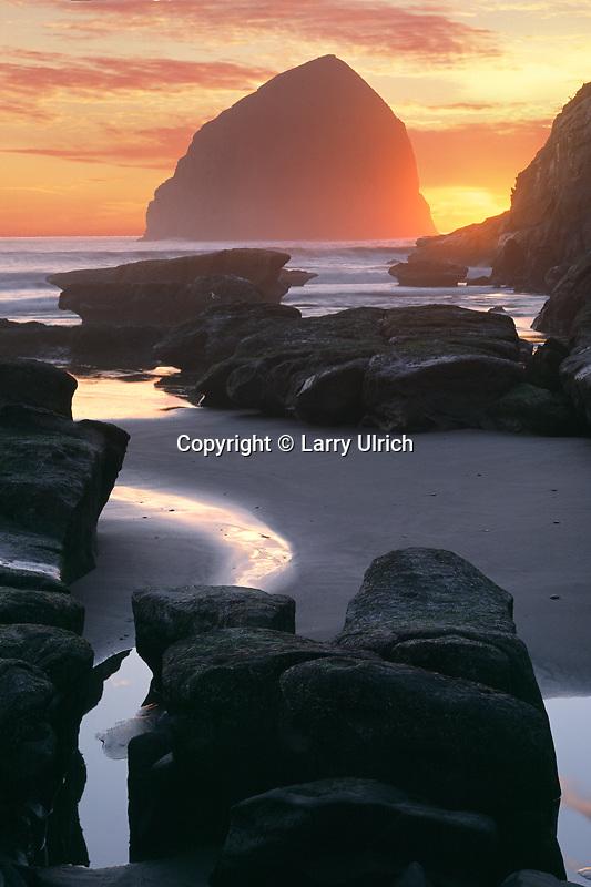 Haystack Rock<br />   from Cape Kiwanda<br /> Cape Kiwanda State Park<br /> Tillamook County,  Oregon