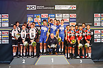 The podium winners Quick-Step Floors, 2nd Team Sunweb and 3rd BMC Racing Team at the end of the Men's Elite Team Time Trial of the 2018 UCI Road World Championships running 62.8km from &Ouml;tztal to Innsbruck, Innsbruck-Tirol, Austria 2018. 23rd September 2018.<br /> Picture: Innsbruck-Tirol 2018/BettiniPhoto | Cyclefile<br /> <br /> <br /> All photos usage must carry mandatory copyright credit (&copy; Cyclefile | Innsbruck-Tirol 2018/BettiniPhoto)