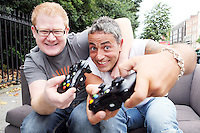 NO REPRO FEE. 24/8/2010. Halo: Reach Launch. DJ Steven Cooper and TV presenter Baz Ashmawy are pictured in Dublin for the launch of Halo: Reach. Launching in less than four weeks, Halo: Reach, is set to be one of the biggest entertainment launches of 2010, and will be available exclusively on Xbox 360. To celebrate the upcoming launch of Halo: Reach, Irish rugby star Jamie Heaslip; TV presenter Baz Ashmawy; and DJ Steven Cooper teamed up to announce the launch of a major nationwide competition and the celebrity Halo: Reach Elite Spartan Squad. The competition gives Halo fans and gamers the chance to take on the celebrity Halo: Reach Elite Spartan Squad on Tuesday 14th September at the launch event in Dublin city centre. Eight teams of four will be selected to take part in a competition to face off against the celebrity team. This is a once-in-a-lifetime chance to be a part of the most exciting live Halo battle in gaming history - all with the special Celebrity Elite Spartan Squad!The Celebrity Elite Spartan Squad, consists of Jamie Healsip, Baz Ashmawy and Steven Cooper and will also be joined by a fourth mystery celeb who will be flying into Ireland for the launch and whose identity will be revealed closer to the event. To enter the competition entrants need to email their team of four to haloreach@edelman.com with a note on why they should face-off against the Celebrity Elite Spartan Squad. Entrants to the competition must be 18 or over. Picture James Horan/Collins Photos
