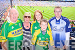 Arthur, Thresa, Oisin and Elaine McCormac and Dale Farrell Listowel Supporting Kerry at Croke park on Sunday.