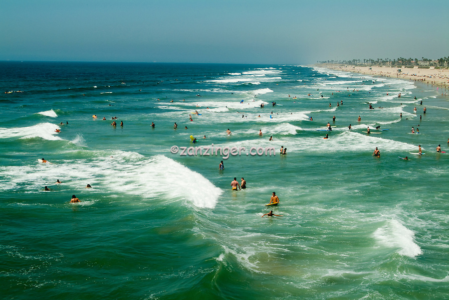 Huntington Beach, California, Ocean Waves, people Tourist, travel, Southern Calif