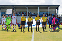 Bradenton, FL - Sunday, June 12, 2018: Referee, Canada, Haiti prior to a U-17 Women's Championship 3rd place match between Canada and Haiti at IMG Academy. Canada defeated Haiti 2-1.
