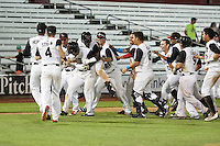 Quad Cities River Bandits Randy Cesar (39) is mobbed by teammates, including Hector Roa (15), Marlon Avea (18), Dexture McCall (27), Myles Straw (4), Christian Correa (9), Kristian Trompiz (3) after a walk off hit during a game against the Bowling Green Hot Rods on July 24, 2016 at Modern Woodmen Park in Davenport, Iowa.  Quad Cities defeated Bowling Green 6-5.  (Mike Janes/Four Seam Images)