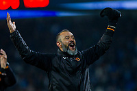 Wolverhampton Wanderers manager Nuno Espirito Santo celebrates his side's win at full time of the Sky Bet Championship match between Cardiff City and Wolverhampton Wanderers at the Cardiff City Stadium, Cardiff, Wales on 6 April 2018. Photo by Mark  Hawkins / PRiME Media Images.