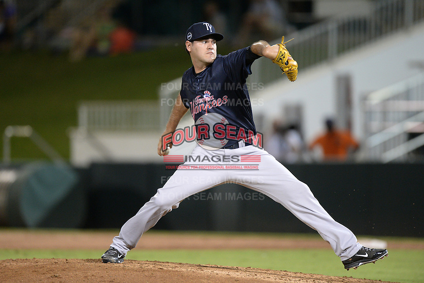 Tampa Yankees pitcher Luis Niebla (24) delivers a pitch during a game against the Fort Myers Miracle on April 15, 2015 at Hammond Stadium in Fort Myers, Florida.  Tampa defeated Fort Myers 3-1 in eleven innings.  (Mike Janes/Four Seam Images)