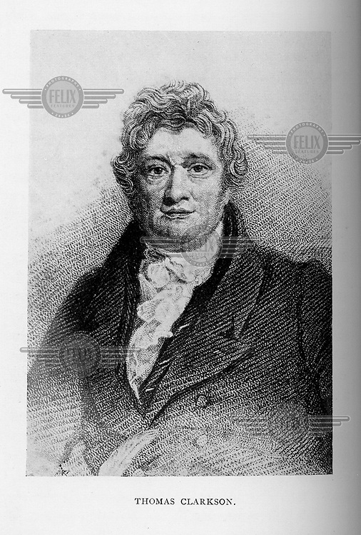 A portrait of British abolitionist Thomas Clarkson (1760 - 1846) printed in 'The Slave in History' by William Stevens. Clarkson was a leading figure in the early anti-slavery societies and the abolition movement.