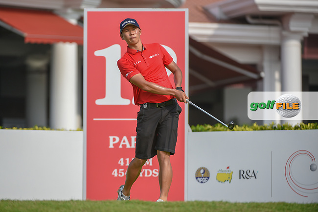 Jin-Bo HA (KOR) watches his tee shot on 12 during Rd 2 of the Asia-Pacific Amateur Championship, Sentosa Golf Club, Singapore. 10/5/2018.<br /> Picture: Golffile   Ken Murray<br /> <br /> <br /> All photo usage must carry mandatory copyright credit (© Golffile   Ken Murray)