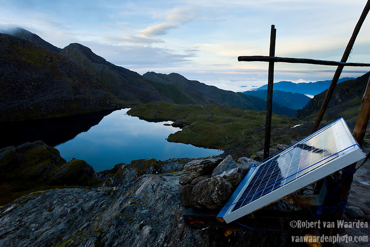 Solar Panel with Bhairabkunda lake in Northern Central Nepal.