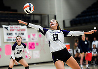 NWA Democrat-Gazette/CHARLIE KAIJO Fayetteville High School Gracyn Spresser (13) digs during a volleyball game, Thursday, October 11, 2018 at Rogers Heritage High School in Rogers.