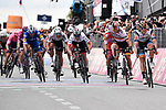 Damiano Cima (ITA) Nippo-Vini Fantini-Faizane from the breakaway holds off the charging peloton, including German Champion Pascal Ackermann (GER) Bora-Hansgrohe, to win Stage 18 of the 2019 Giro d'Italia, running 222km from Valdaora-Olang to Santa Maria di Sala, Italy. 30th May 2019<br /> Picture: Fabio Ferrari/LaPresse | Cyclefile<br /> <br /> All photos usage must carry mandatory copyright credit (© Cyclefile | Fabio Ferrari/LaPresse)