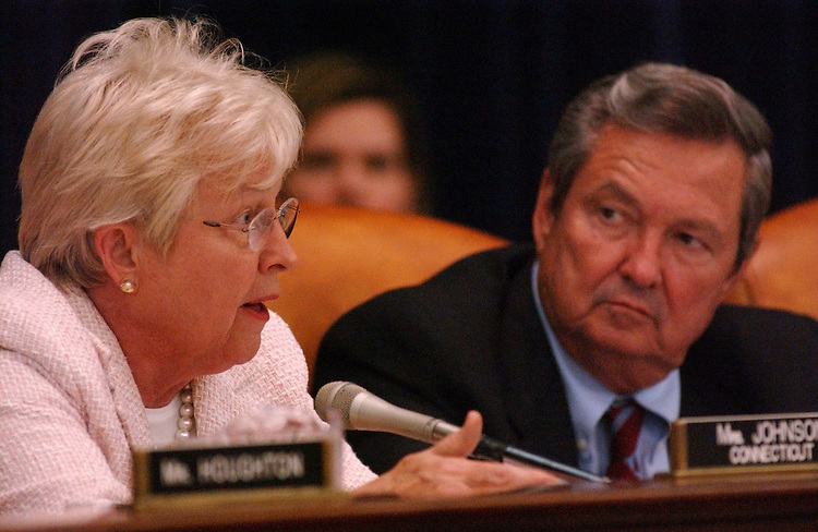 "6/17/03.WAYS AND MEANS MEDICARE MARKUP--Nancy Johnson, R-Conn., and E. Clay Shaw Jr., R-Fla., during the markup of H.R. 2473, the ""Prescription Drug and Medicare Modernization Act of 2003"" and H.R. 2351, the ""Health Savings Account Availablity Act."" They were escorted from the room..CONGRESSIONAL QUARTERLY PHOTO BY SCOTT J. FERRELL"