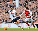 Tottenham's Erik Lamela tussles with Arsenal's Hector Bellerin<br /> <br /> - English Premier League - Tottenham Hotspur vs Arsenal  - White Hart Lane - London - England - 5th March 2016 - Pic David Klein/Sportimage