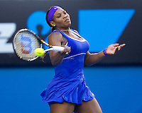 SERENA WILLIAMS (USA) against GRETA ARN (HUN) in the third round of the Women's Singles. Serena Williams beat Greta Arn 6-1 6-1..21/01/2012, 21st January 2012, 21.01.2012..The Australian Open, Melbourne Park, Melbourne,Victoria, Australia.@AMN IMAGES, Frey, Advantage Media Network, 30, Cleveland Street, London, W1T 4JD .Tel - +44 208 947 0100..email - mfrey@advantagemedianet.com..www.amnimages.photoshelter.com.