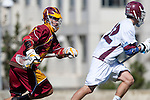Los Angeles, CA 02/20/10 - Jordan Levitz (USC # 2) and Nolan Smith (LMU # 22) in action during the USC-Loyola Marymount University MCLA/SLC divisional game at Leavey Field (LMU).  LMU defeated USC 10-7.