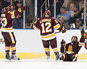 J.T. Brown (Duluth - 23), Jack Connolly (Duluth - 12), Justin Fontaine (Duluth - 37) - The University of Minnesota-Duluth Bulldogs defeated the Union College Dutchmen 2-0 in their NCAA East Regional Semi-Final on Friday, March 25, 2011, at Webster Bank Arena at Harbor Yard in Bridgeport, Connecticut.