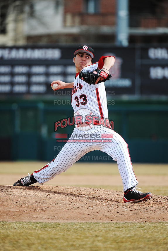 St. John's University Redstorm pitcher Joey Graziano (33) during game 1 of a double header against the University of Cincinnati Bearcats at Jack Kaiser Stadium on March 28, 2013 Queens, New York.  St. John's defeated Cincinnati 6-5 in game 1.                                                                      (Tomasso DeRosa/ Four Seam Images)