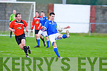 Tralee Dynamos Jared O'Sullivan and Limerick FC's Colin Daly.