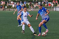 Allston, MA - Saturday August 19, 2017: Camila Martins Pereira, Amanda Frisbie during a regular season National Women's Soccer League (NWSL) match between the Boston Breakers and the Orlando Pride at Jordan Field.