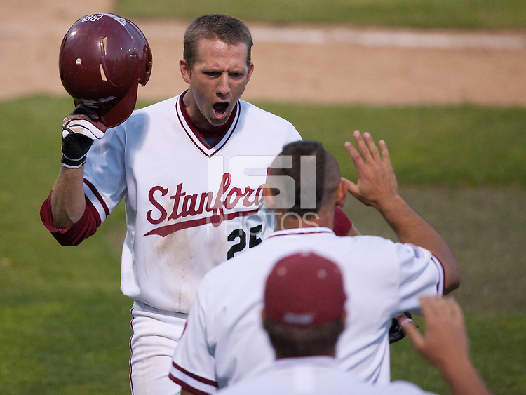 STANFORD, CA - April 21, 2011: Stephen Piscotty of Stanford baseball celebrates his homerun with Tyler Gaffney after hitting back-to-back homeruns with Gaffney during Stanford's game against UCLA at Sunken Diamond. Stanford won 7-4.